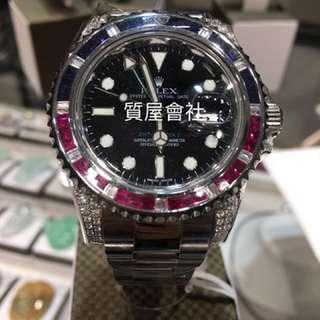 Rolex 116710後加鑽石