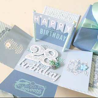 Happy 28th Birthday Explosion Box Card in blue