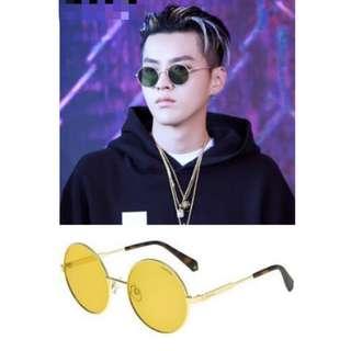 吳亦凡同款 男女可用 潮人 Polaroid 金框黃鏡 hiphop太陽眼鏡 全新連盒 齊吊牌 原價600 INS大熱