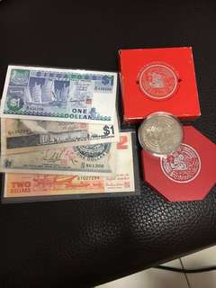 CNY Souvenir gift pack, Singapore collectible various currencies comprising $10 cupro-nickel coin year of the Rat 1996 and 4 paper note altogether current value $15