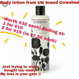 BN Worth $32 Cowshed body lotion