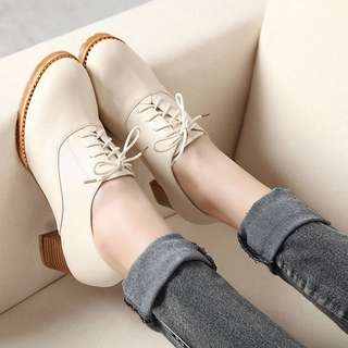 Oxford plain simple korean lady high heel shoe ankle boots mono coloured loafer