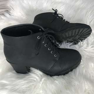 Black Lace Up Boots with Chucky heel