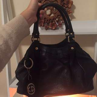 Authentic Gucci sukey large GG leather tote black
