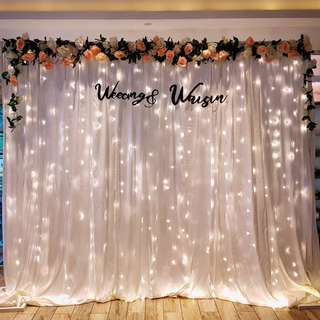 Wedding decor Customized floral fabric backdrop at Canopy Bishan Park