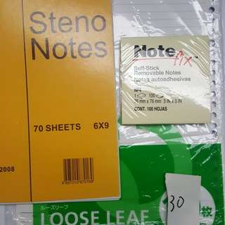 Steno notes, stick,loose paper記事部,活页紙,記事贴