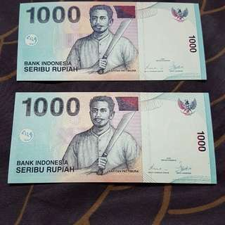 2000 Bank Indonesia 1000 Rupiah Banknote *running pair*