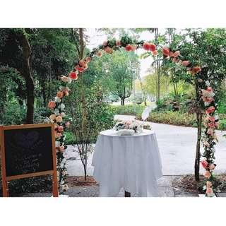 solemisation wedding decor floral arch outdoor floral wedding