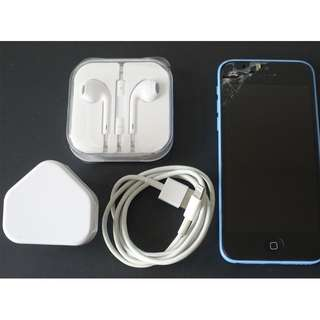 (Sale) Apple iPhone 5c Blue, Damaged screen