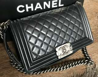 Chanel Boy Old Medium Black RHW