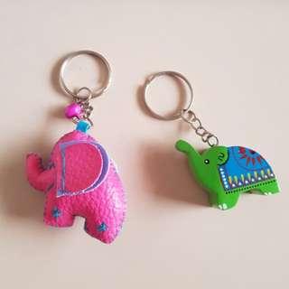 Pink green elephant keychain