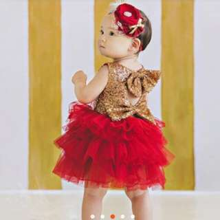 Red birthday tutu gown.. 1-2T ,2hrs used only ,