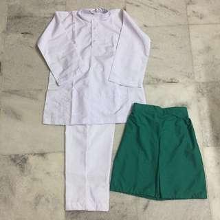 Set Baju Melayu + Sampin Sekolah Agama
