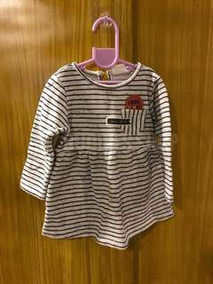 Stripes long sleeves dress for baby
