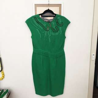 Brilliant Green Knee Length Vintage Dress