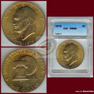 1976 United States Bicentennial Dollar - ICG MS66
