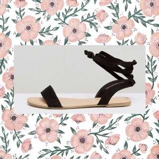 Black Tie Leg Sandals