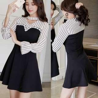 Elegant Fashion Stripe Hollow Out Casual Dresses