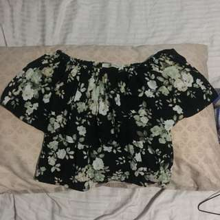 Twill Cavern Floral Off Shoulder Top