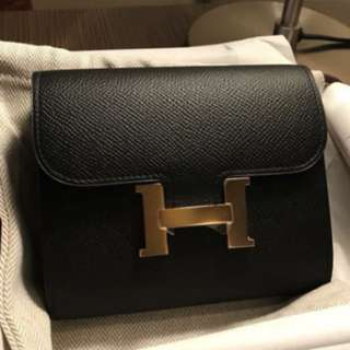 Hermes Constance short wallet, 89 Noir黑色,Epsom leather with Rose Gold Buckle, Full set with shop receipt