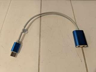 Type c aux mp3 3.5mm earphone splitter adaptor