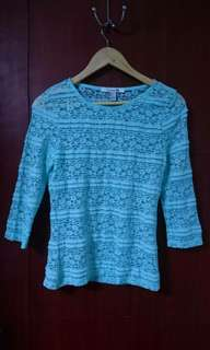 Forever 21 teal lace long sleeved top