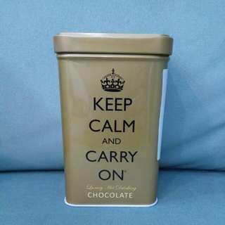 ~全新的~ keep calm and carry on 英國經典即溶熱可可粉 金色鐵盒