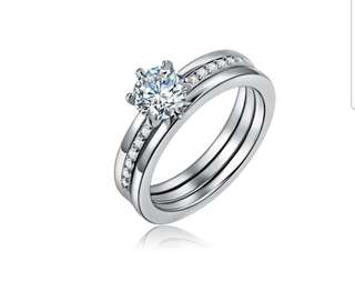 Diamond Ring Platinum Plated (Can Be Detached To 2 Rings)