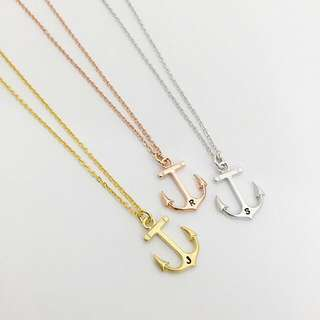 NL024- Modern Minimalist Personalized Necklace - Anchor Necklace Hand Stamped Initial - Choose EITHER Gold, Rose Gold OR Rhodium Plated (Silver Tone) -