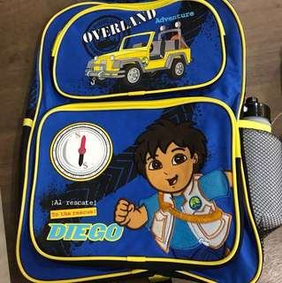 Diego blue backpack with water bottle