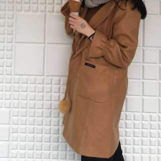 CAMEL / CREAM POMPOM WINTER WOOLEN WOOL COAT ( HARGA NET )