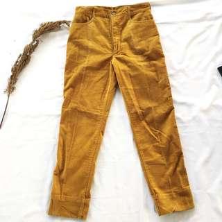 🚚 🌴法國製芥末黃復古燈芯絨高腰休閒褲 女款Vintage 歐美古著