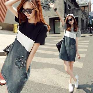 Block Coloured Korean Style Designed Pockets Casual Dress