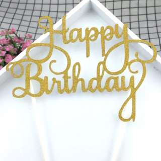 Happy birthday Cake Topper (Gold Color)