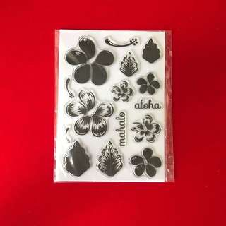 Aloha layered flowers scrapbooking clear stamps