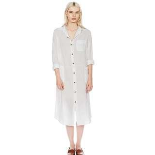 Long Sheer Shirt Dress in White