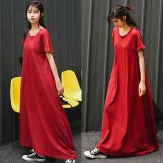 Spring new Korean dress female mop skirt dress and put pure color art MM summer long section