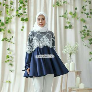 Peplum top navy by simply store