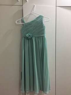 Green long gown with petticoat