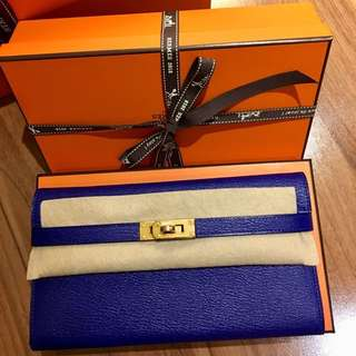 Brand New Hermes Kelly Classic Wallet Electric Blue