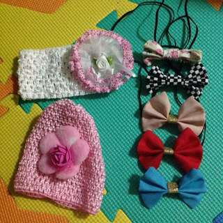 FREBBIE 500 purchased and above BABY GIRL SET OF HEADBANDS AND CROCHET BONNET