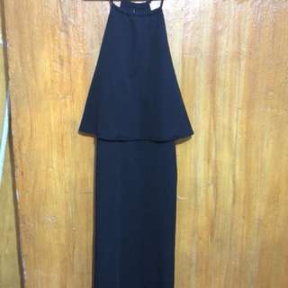 Long Black Sleeveless Dress with Slit