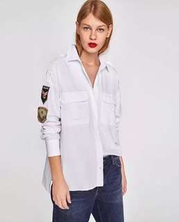European and American style sleeves patch embroidery double pocket casual loose long-sleeved shirt