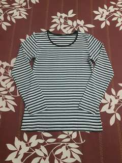 UNIQLO Heattech Extra Warm Striped Crewneck Long Sleeve