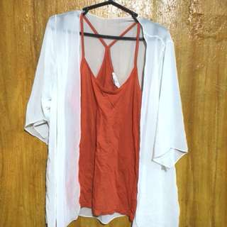 Forever21 sleeveless top and see through cardigan