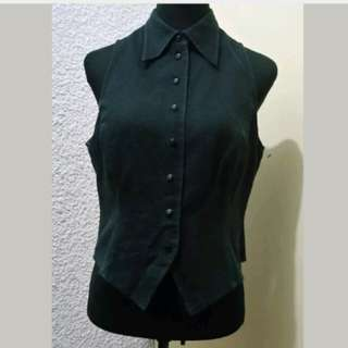 WA481 Black Sleeveless Blouse with Collar - see pics for Measurements