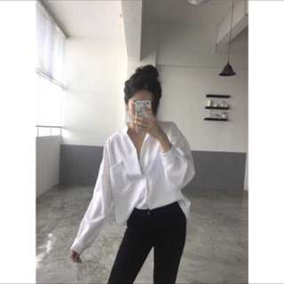 Oversized White Blouse Top