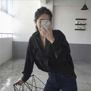 Oversized Black Blouse Top