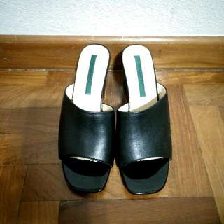 Genuine Leather Heeled Mules 36