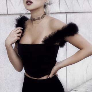 Furry Black Crop Top